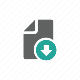 arrow, document, down, download, file, letter, paper icon