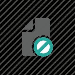 block, document, error, file, paper, prohibit, warning icon