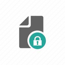 document, file, letter, lock, paper, password, security icon