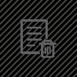 delete, document, file, remove, trash, trash bin icon