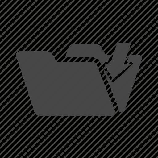 document, down, file, folder, write icon