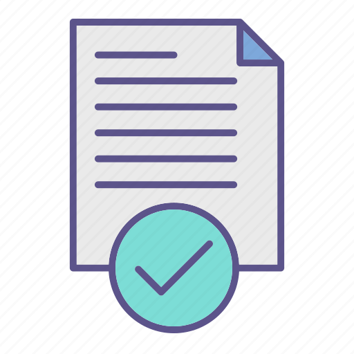 approved, checkmark, document, documents, office icon