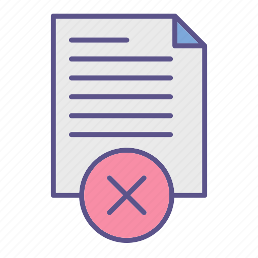 cancel, documents, office, refuse icon
