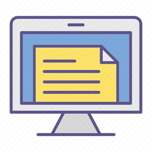 documents, file, monitor, office, treatment icon