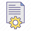 documents, cog, office, processing, file, gear icon