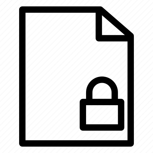 document, file, folder, lock, locked icon