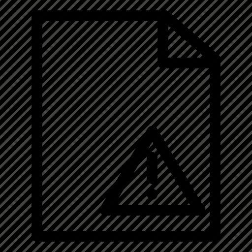 danger, document, file, paper, warning icon
