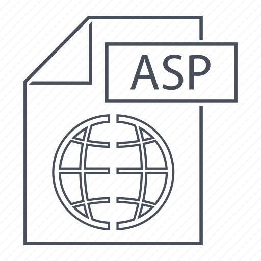 asp, document, extension, file, format, line icon, web icon