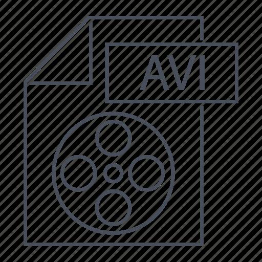 avi, document, extension, file, format, line icon, movie icon