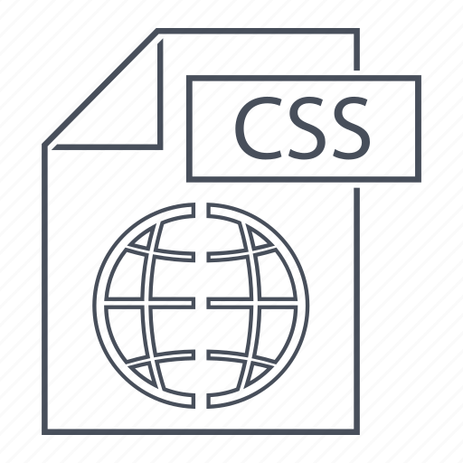 css, extension, file, format, line icon, page, web icon