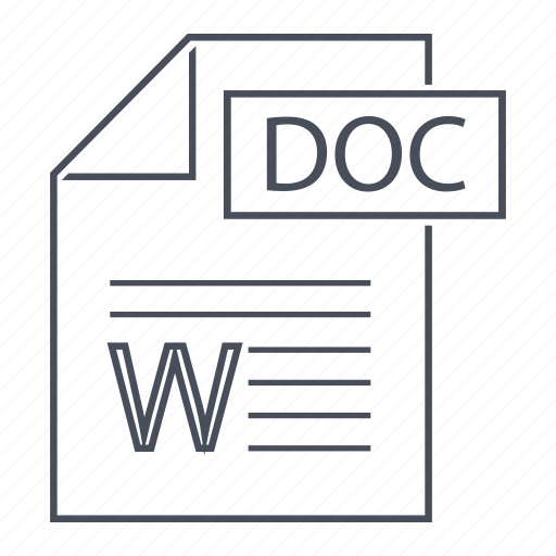 doc, extension, file, format, line icon, microsoft, office icon