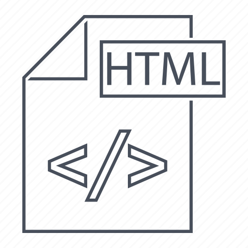 document, extension, file, format, html, line icon, web icon