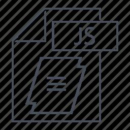 document, extension, file, java, js, line icon, web icon