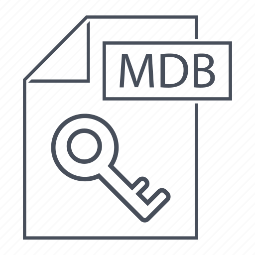 database, extension, format, line icon, mdb, office, page icon