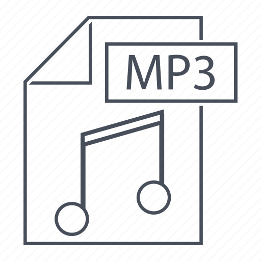 extension, file, line icon, mp3, music, play icon