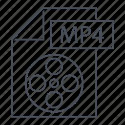extension, file, format, line icon, movie, mp4, web icon