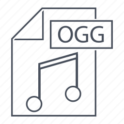extension, file, format, line icon, music, ogg icon