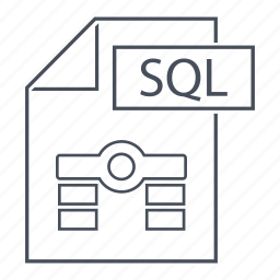 data, database, extension, format, line icon, sql, web icon