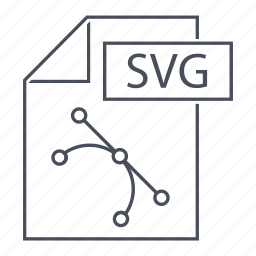 extension, file, format, line icon, paper, svg format, web icon