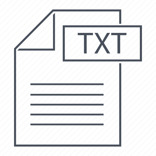 document, extension, file, format, line icon, text, txt icon