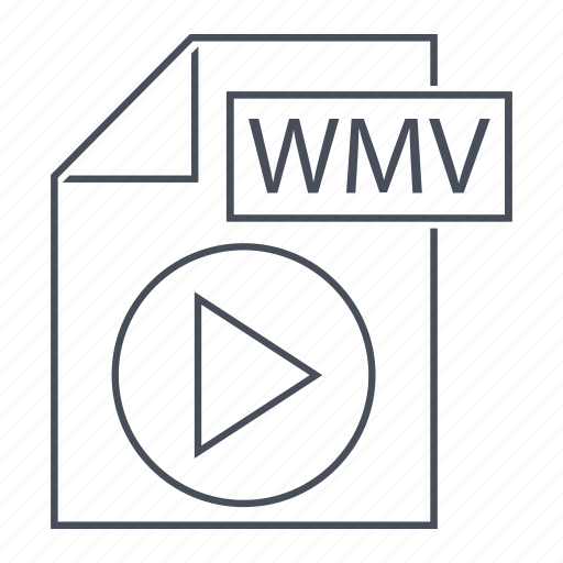 extension, line icon, media, movie, play, windows, wmv icon