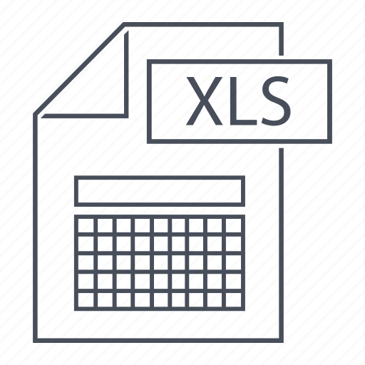 excel, extension, file, files, format, line icon, xls icon
