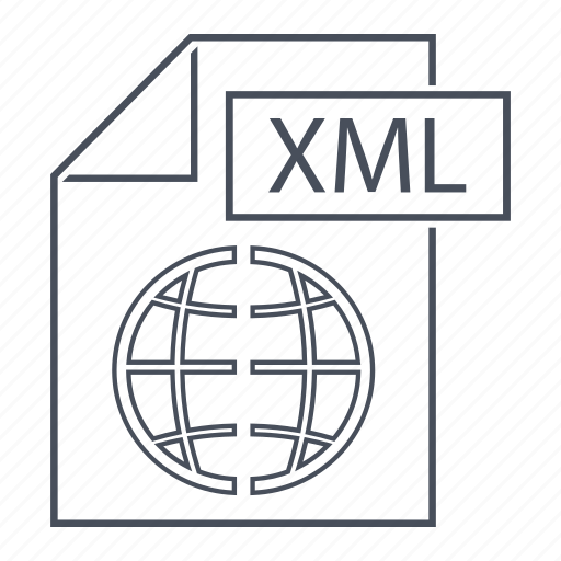 extension, file, format, line icon, page, web, xml icon