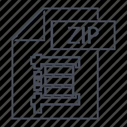 document, extension, file, format, line icon, zip, zip logo icon