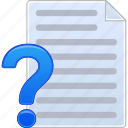 about, document, file, how to, list, question, text icon