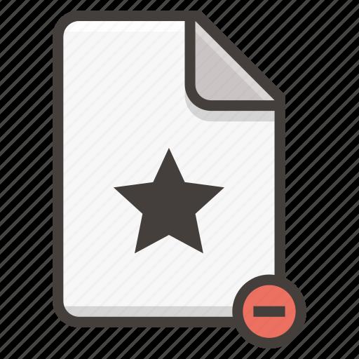 document, favorite, file, remove, star icon