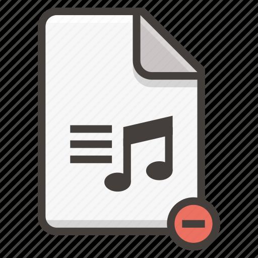 audio, document, file, music, remove icon