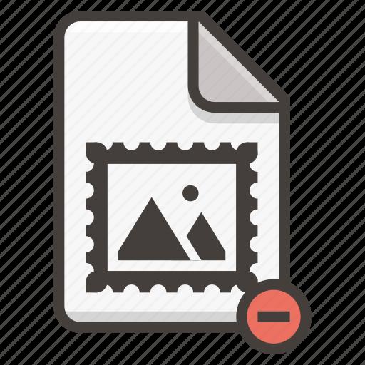 document, file, image, photo, picture, remove icon