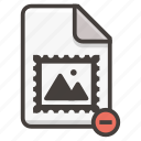 document, file, image, photo, remove icon