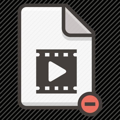 document, file, media, movie, remove, video icon