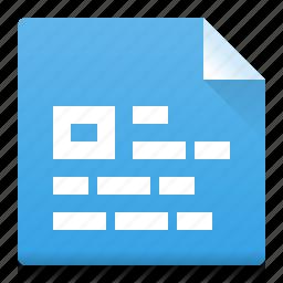 alignment, block, document, file, left, picture, type icon