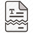 document, file, torn, paper icon