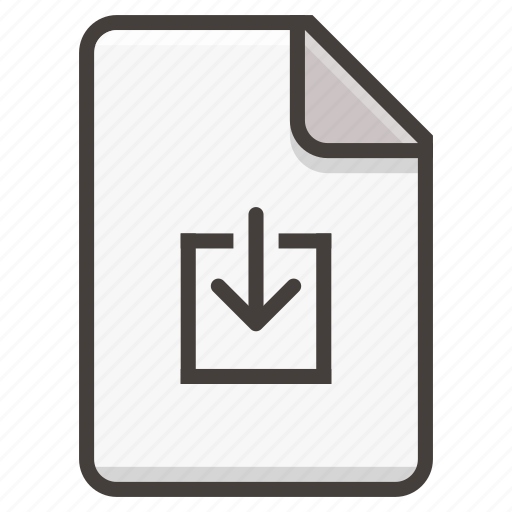 arrow, document, download, file icon