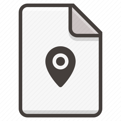document, file, location, map, marker, pin icon