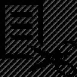 archive, cut, document, file, scissors icon