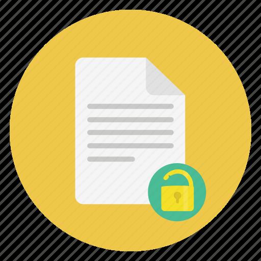document, file, unlock icon
