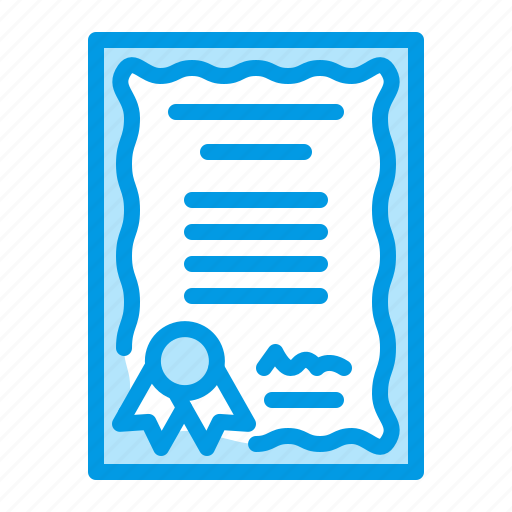 certificate, diploma, license, patent icon