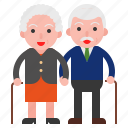 couple, elder, old, old man icon