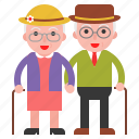 couple, elder, old, oldster icon