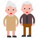 couple, elder, old, senior icon