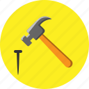 diy, hammer, hardware, house, nail icon