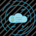 cloud, dollar, money, payment