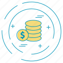 coins, dollar, money, payment icon