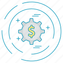 dollar, gear, money, payment icon