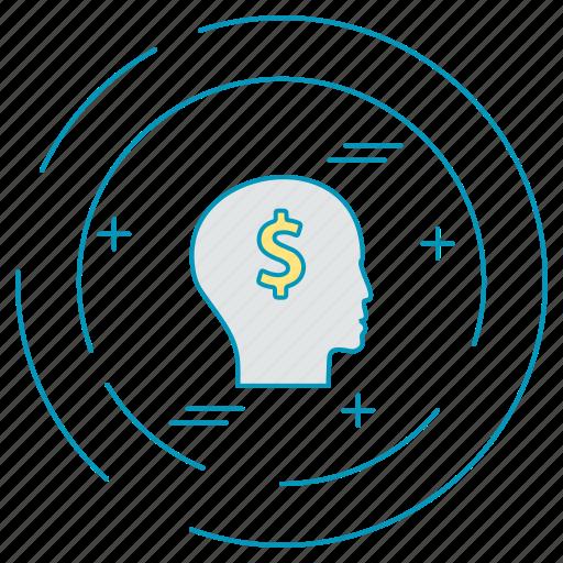 dollar, mind, money, payment icon