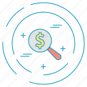 dollar, money, payment, search icon